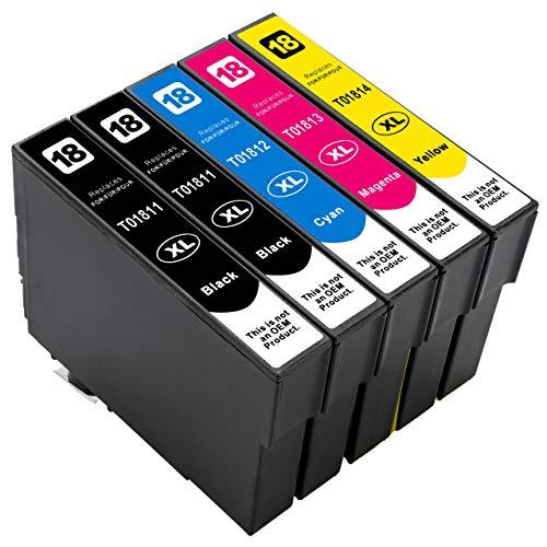 ESMOnline kompatible Druckerpatronen als Ersatz für Epson 18/18XL (Schwarz Cyan Magenta Gelb; 5er Set) für Expression Home XP-425 422 415 412 405 402 325 322 315 312 305 302 30 225 215 205 202 102