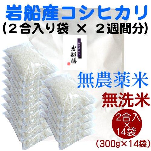 【一人暮らしに便利なごはん】新潟岩船産コシヒカリ(無農薬米) 無洗米 2合(300g)×14袋(2週間分)