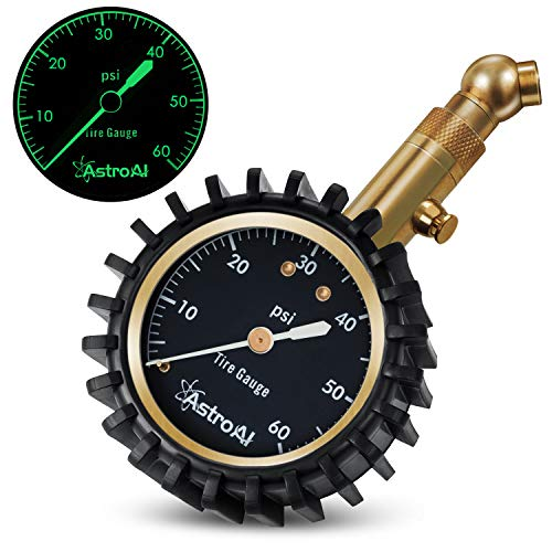 AstroAI Tire Pressure Gauge Expert 60 PSI - Heavy Duty Tire Gauge ANSI Certified Accurate, Improved Needle and Chuck