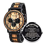 BOBO BIRD Mens Personalized Engraved Wooden Watche, Stylish Wood & Stainless Steel Combined Quartz Casual Wristwatches for Men Family Friends Customized Watch (A-for Boyfriend)