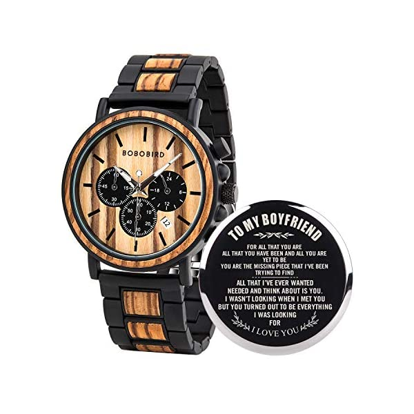 BOBO BIRD Mens Personalized Engraved Wooden Watches, Stylish Wood & Stainless Steel Combined Quartz Casual Wristwatches for Men Family Friends Customized Watch