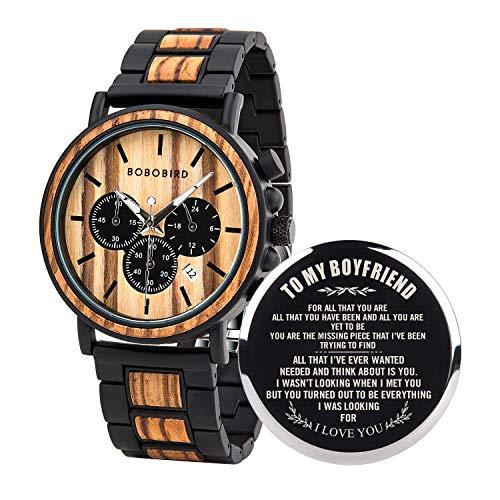 BOBO BIRD Mens Personalized Engraved Wooden Watche, Stylish Wood &...
