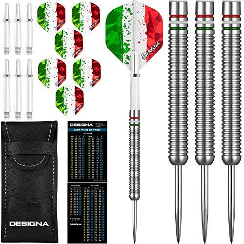 Designa National Patriot Darts Set 22g/24g Wolfram Nationen Flagge Flights, Stiels, Etui (Italien, 24g)