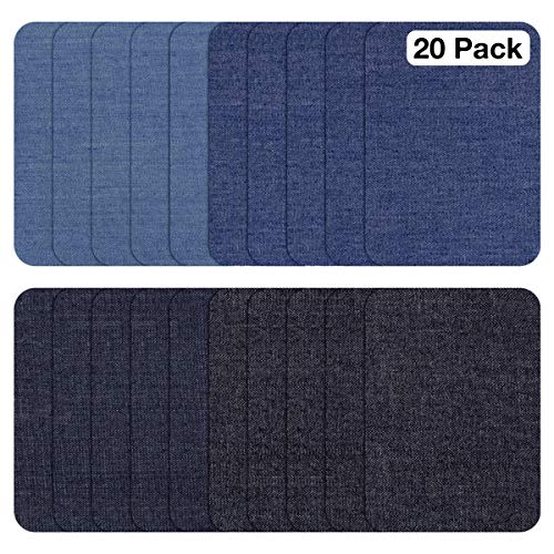 ZEFFFKA Premium Quality Fabric Iron On Patches White Black Blue Gray Beige Brown Yellow Red Green 14 Pieces 100/% Cotton Repair Kit 3 by 4-1//4