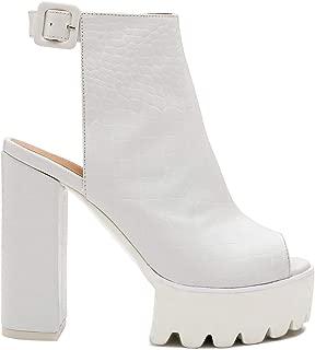 Women's Peep Toe Chunky Platform Sandals - Comfy Ankle Strap Slingback High Heeled Bootie Sandals - White Crocodile Print Size 9