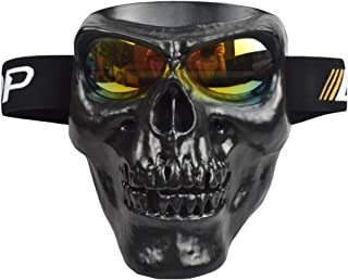 JFFCESTORE Motorbike Motorcycle Off-Road Riding Skull Full Mask with Goggles Glasses for Tactical Helmet M88,MICH Motorcycle Open Face Helmet