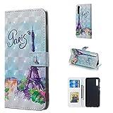 Byr883onJa Funda para smartphone con diseño de torre 3D horizontal con tapa para Galaxy A50, con soporte y ranuras para tarjetas, marco de fotos y cartera