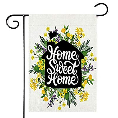 Watercolor Wreath Sweet Home Mother's Day Garden Flag,Vertical Double Sided 12.5 x 18 Inch, Spring Summer Fall Burlap Yard Outdoor Decor