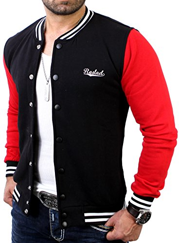 Reslad Herren Jacke Authentic Collegejacke RS-1150 Schwarz-Rot XL