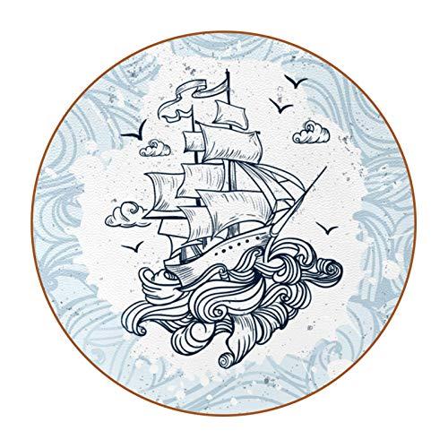 Juego de 6 posavasos redondos para bebidas, alfombrilla de protección de mesa para tazas y tazas, oficina, cocina, barco dibujado a mano con olas