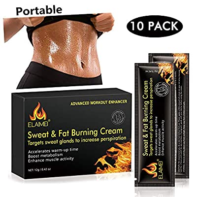 Hot Cream Cellulite Treatment, Fat Burning Sweat Cream for Belly, Workout Enhancer Gel, Natural Firming & Slim Cream for Shaping Abdomen, Waist and Buttocks (10 Pcs/Box)