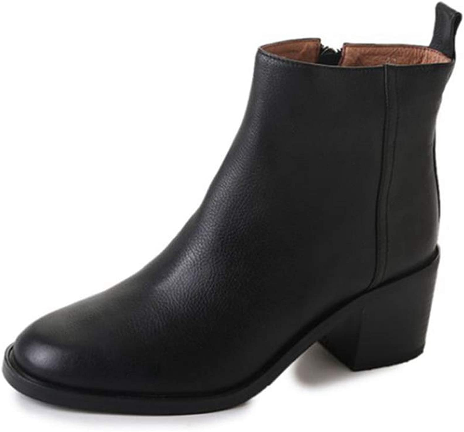T-JULY Winter Boots Ankle Boots Women Black Round Toe Thick Heel Zipper Leather Girls shoes
