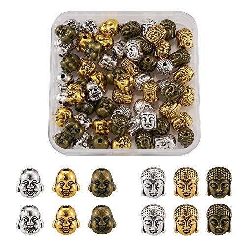 Cheriswelry 60 cuentas espaciadoras de cabeza de Buda tibetana 3 colores budistas espirituales sueltas para joyería y pulsera