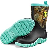TIDEWE Rubber Boots for Women, 5.5mm Neoprene Insulated Rain Boots with Steel Shank, Waterproof Mid Calf Hunting Boots, Durable Rubber Work Boots for Farming Gardening Fishing (Realtree Edge Camo Size 9)