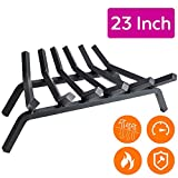 "Fireplace Log Grate 23 inch - 6 Bar Fire Grates - Heavy Duty 3/4"" Wide Solid Steel - For Indoor Chimney Hearth Outdoor Fire Place Kindling Tool Pit Wrought Iron Wood Stove Firewood Burning Rack Holder"