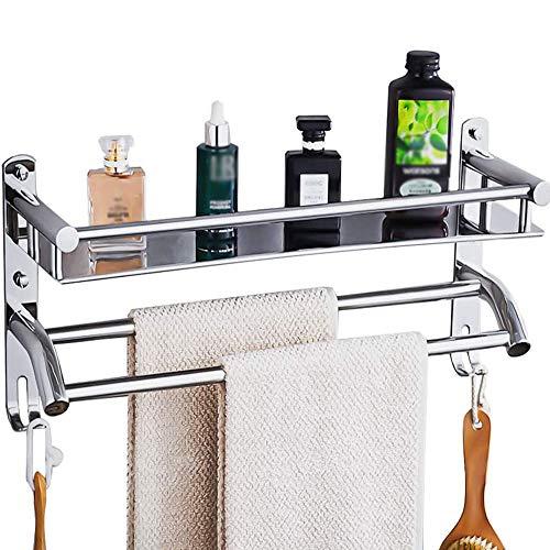 HONPHIER®Handtuchhalter Chrom Handtuchstangen Edelstahl mit Regal und Haken Handtuchstange Bad 59 cm, Handtuchhalter für Badezimmer Küchen Toilette