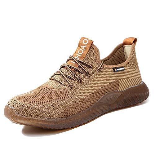 NACKINg Sicherheitsschuhe Herren S3 Arbeitsschuhe Damen Leicht Sportlich Atmungsaktiv Schutzschuhe Stahlkappe Sneaker,Beige,43EU,(265)