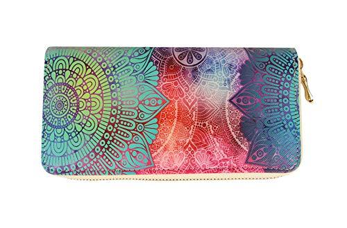 Sunny Times - Geldbörse Frauen und Mädchen, Portemonnaie Damen Ethno mit Blumen, Bunt, Reißverschluss, lang, groß (Variante A)