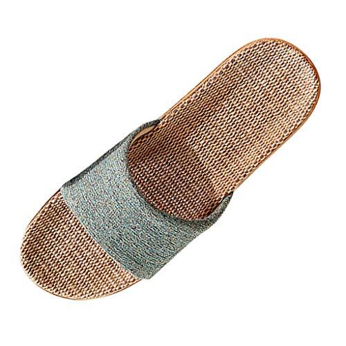 LHWY Sandalias Mujer Verano 2020 Chanclas Antideslizantes Casual Moda Lino Zapatillas de Interior para Hogar Zapatos de Playa y Piscina (38EU, Verde)