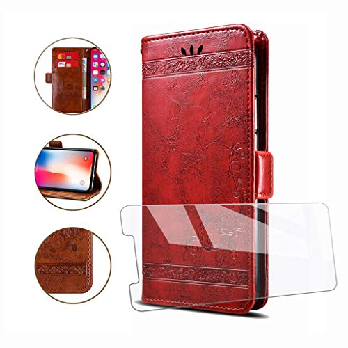 HYMY Hülle für DOOGEE Y8 - Retro Elegant + Schutzfolie PU Leder Flip mit Brieftasche Card Slot Handyhülle Hülle Lederhülle für DOOGEE Y8 (6.1