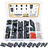 301Pcs 20 Kits Waterproof Car Electrical Wire Connector Terminals Plug Kit 1/2/3/4/6/Male&Female Pin Small Plug 18-14AWG Water Resistend Truck Harness Plug Car Spark Plug Connector