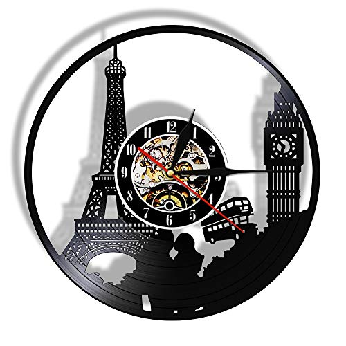 Tbqevc Big Ben Tower Reloj de Pared Paris Cut Vinyl Record London Lámpara Diseño Retro 12 Pulgadas