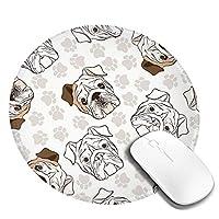 Mouse pad イギリスのブルドッグ 円型マウスパッド パソコン テーブルクロス 周辺機器 かわいい柄 滑り止め 防水 おしゃれ オフィス用 ゲーム用