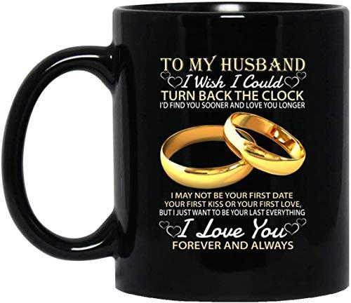 N\A Tazas de cerámica de bamerand para mi Esposo, me gustaría Poder Volver atrás el Reloj Anillos de Boda Regalo Divertido Tazas de café
