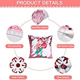 XIECCX Reversible Sequin Pillow Case Pink Mermaid Flip Sequin Throw Pillow Cover Decorative Change Color Cushion Case for Bedroom Couch Sofa Kid's Magic Pillowcase Gift 1PCS 16x16in