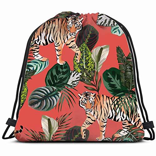 WH-CLA Cinch-Taschen Zusammensetzung Realistische Tiger Tropische Tiere Wildtiere Korallen Männer Travel Student Durable Lightweight Pattern Frauen Kordelzug Rucksack Gedruckt Cinch Tasch
