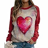 ZFQQ Otoño/Invierno Mujer Casual Cuello Redondo Manga Larga Estampado Multicolor Camiseta Suelta Top