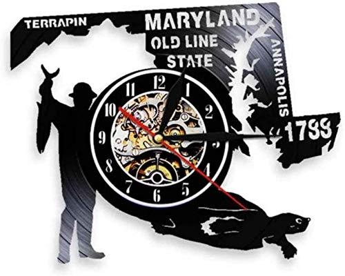 zgfeng Reloj de Pared de Vinilo Americano Maryland Hunter Water Turtle Record Watch Old Wire Status Luz LED Luz Nocturna-Sin LED