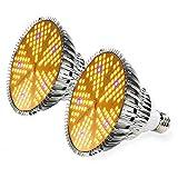 Lampe de Plante, 100W LED Lampe de Croissance E27 Lampe Horticole UV Plante Interieur Lampe Ampoule pour Plantes Grow Light pour Serre, Horticole, Interieur Plantes, Fleurs - 2 Pack