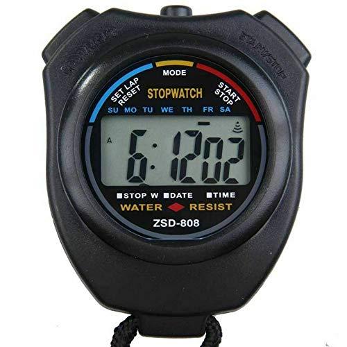 Woorea wasserdichte Digital Professional Handheld LCD Handheld Sport Stoppuhr Timer Stoppuhr mit String