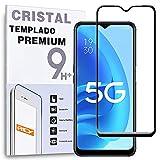 REY Protector de Pantalla Curvo para OPPO A55 5G, Negro, Cristal Vidrio Templado Premium, 3D / 4D / 5D, Anti Roturas