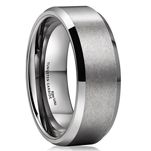 King Will BASIC Unisex 8mm Tungsten Carbide Matte Polished Finish Wedding Engagement Band Ring 9.5