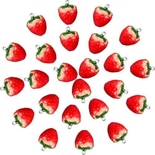 Strawberry Pendant Charms Fruit Pendant Resin Charms 3D Strawberry Charms Strawberry Hanging product image
