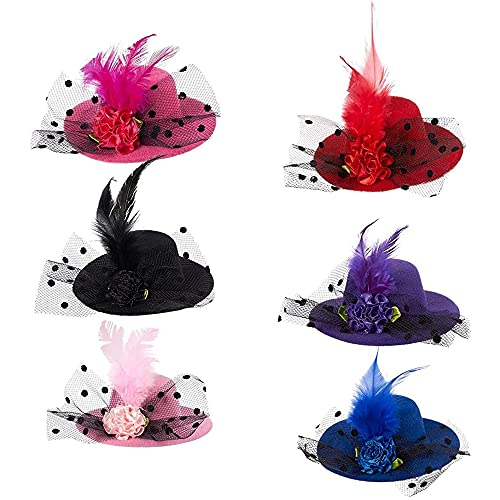 Mini Hat  Decorative Hair Clips (6 Colors  3.9 in  6 Pack)