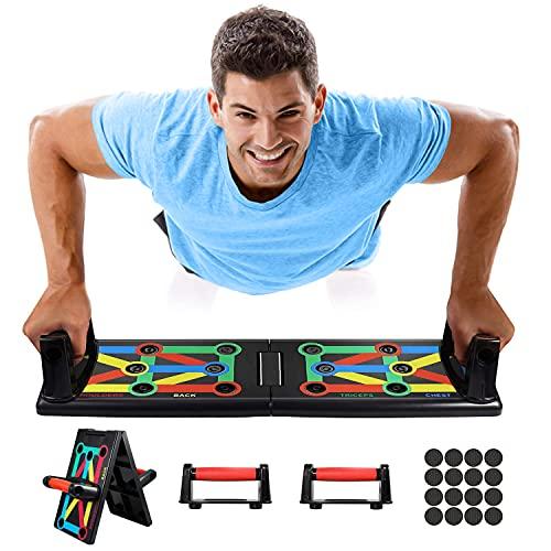 ROMIX Push Up Rack Board, 12 en 1 Multifuncional Sistema Plegable Ejercicio Stands, Portátil Tabla de Flexiones Hogar Gimnasio Soporte Equipo para Corporal Muscular Fitness Entrenamiento Hombre Mujer