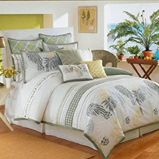 Coastal Life Luxe Maoli Tropical Queen Duvet Cover Set 6 Pieces Shams Bedskirt & Duvet