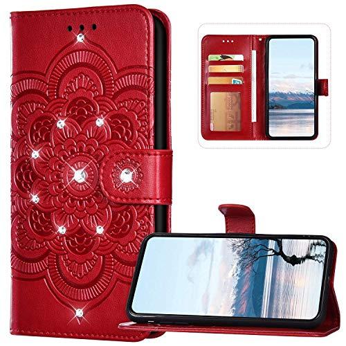 JAWSEU Kompatibel mit Samsung Galaxy A21S Hülle Leder Sonnenblume Schutzhülle Bling Glitzer Strass Handyhülle Leder Tasche Flip Case Wallet Tasche Handytasche für Galaxy A21S,Mandala Rot