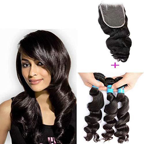 Queengirl Indien Bundles De Cheveux Humains Avec La Fermeture En Vrac Curl Vague Brute Vierge Non Transformés Cheveux Tissage Trame Top Dentelle Ferme