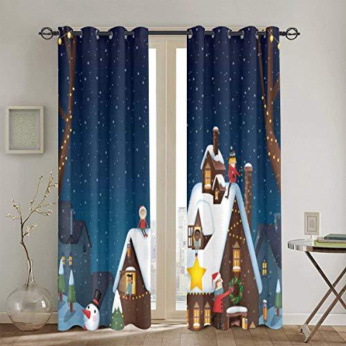 Cortinas Punch,una decoración de la casa para el Invierno y la Navidad con niños Sala de Estar Dormitorio...