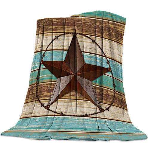 Sweet Comfort Dream Texas Star Vintage Flannel Fleece Blankets Luxury Couch Cover Blanket Wooden Board Soft Lightweight Plush Throw Blankets for Couch/Chair/Bedroom All Season, 50x80 inches