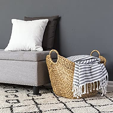 Best Choice Products Portable Large Hand Woven Seagrass Wicker Braided Storage Laundry Blanket Toys Basket Organizer for Home w/Handles, Strong Steel Frame - Natural Brown