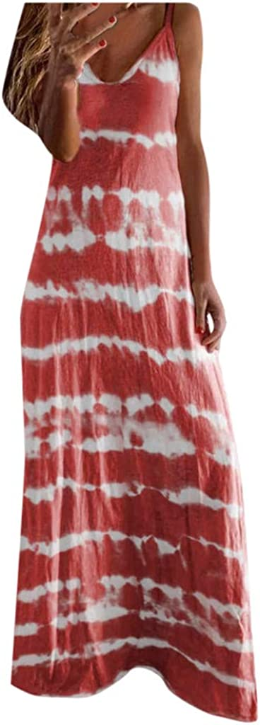 Shakumy Women's Casual Summer Floral Boho Dress Sleeveless Long Maxi Dress Beach Sundress Loose Party Tank Tunic Swing Dress