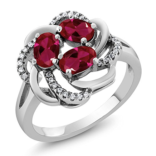1.87 Ct Oval Red Created Ruby 925 Sterling Silver Flower Blossom Ring (Available in size 5, 6, 7, 8, 9)