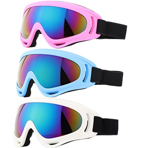 Ski Goggles, Yidomto Pack of 3 Snowboard Goggles for Kids,Boys,Girls,Youth, Mens,Womens,with UV Protection,Windproof,Anti Glare(White/Pink/Blue)