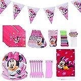 Minnie Decoraciones de Fiesta de cumpleaños, 54 Pcs Juego de Cubiertos de Minnie, Cumpleaños Vajilla Set de Fiesta Kids Birthday Mickey, Plato, Servilleta de Papel para Niños Baby Shower