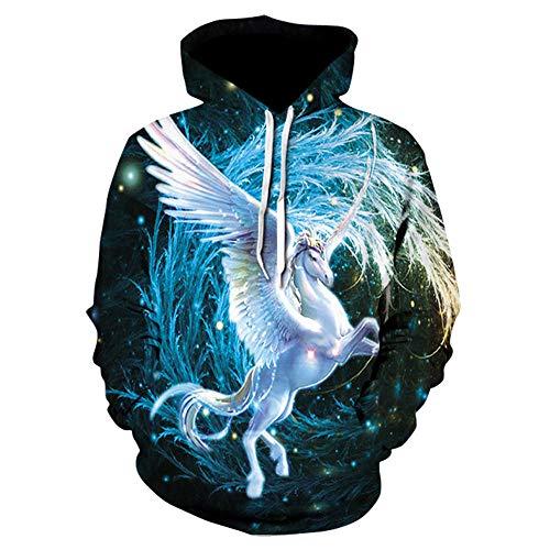 CHWEI Knitted Hat 3D Couples Hoodies Pegasus Dessin Sweat Pull Zipper O Cou Drôle Hommes Femmes Adulte Chandail Vêtements Manteau XXL